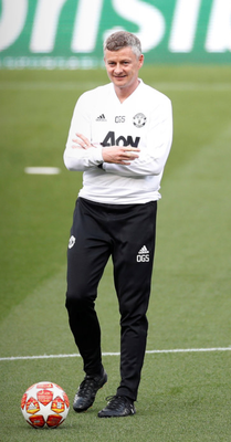 Manchester United manager Ole Gunnar Solskjaer during training at the Nou Camp in Barcelona where he won the Champions League 20 years ago with United