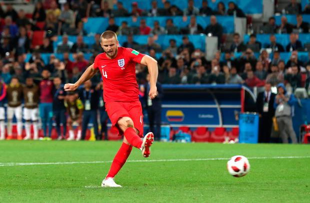 LAST-EIGHT DATE: Eric Dier fires home England's winning penalty in the World Cup last-16 shoot-out win over Colombia at the Spartak Stadium, Moscow last night.