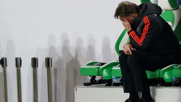 Van Gaal shows his frustration during the defeat to Wolfsburg