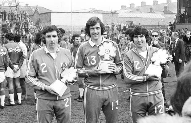 LAST GAME: Republic of Ireland players Paddy Mulligan, left, Don Givens, who scored all four goals in the game, and Tony Dunne, right, ahead of the Euro 1976 qualifier between Ireland and Turkey at Dalymount Park in October 1975. Photo: Connolly Colle