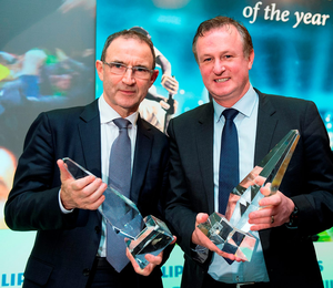 Republic of Ireland manager Martin O'Neill, left, and Northern Ireland manager Michael O'Neill, who were jointly presented with the Philips Manager of the Year Award this month