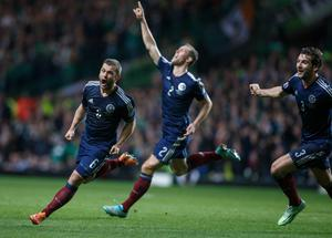 Handout photo provide by William Hill of Scotland's Shaun Maloney celebrates scoring during the UEFA Euro 2016 qualifier at Celtic Park, Glasgow. PRESS ASSOCIATION Photo. Picture date: Friday November 14, 2014. See PA story SOCCER Scotland. Photo credit should read