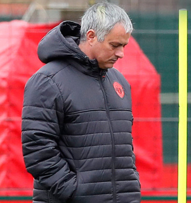 Manchester United manager Jose Mourinho at a squad training session ahead of tonight's Europa League clash with Anderlecht