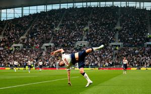 BACK IN THE ZONE: Robbie Keane celebrates his goal for Spurs Legends in the friendly match against Inter Milan Legends at the Tottenham Hotspur Stadium on Saturday. Pic: PA