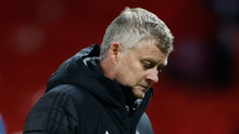 Manchester United manager Ole Gunnar Solskjaer reacts after defeat by PSG