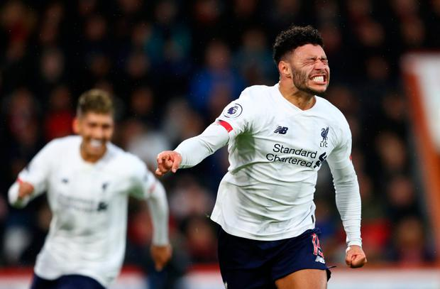 Alex Oxlade-Chamberlain celebrates his goal against Bournemouth. Pic: Getty