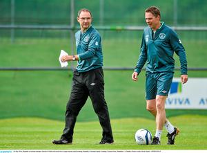 Martin O'Neill with coach Steve Guppy. Picture credit: David Maher / SPORTSFILE