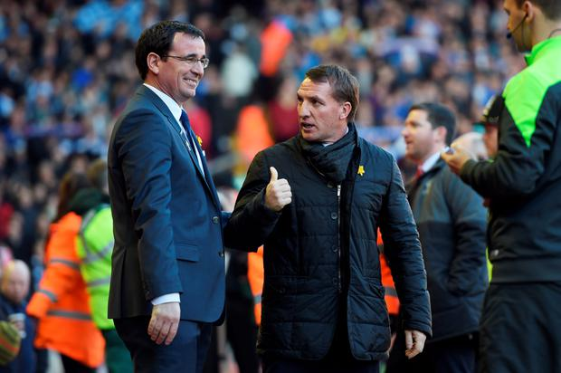 Blackburn manager Gary Bowyer and Brendan Rodgers before kick off