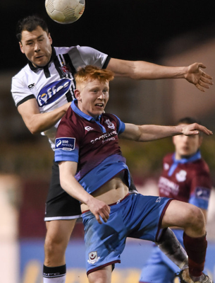 Drogheda United's Aaron Molloy (r) in action against Dundalk's Brian Gartland during the Jim Malone Cup last March. Photo: Paul Mohan/Sportsfile