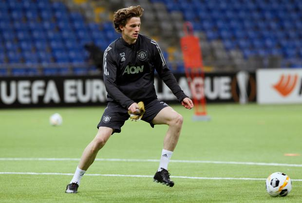 Max Taylor during Manchester United team training at the Astana Arena