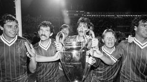 Michael Robinson celebrates winning the European Cup in 1884 with fellow Liverpool players Graeme Souness, Mark Lawrenson and Sammy Lee