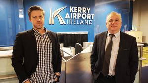 Kerry Airport is the first airport in the world to provide tailored Covid travel information for passengers. Pictured at the announcement are Nicholas Gorman, CEO SafeScore (left) and John Mulhern, CEO Kerry Airport.