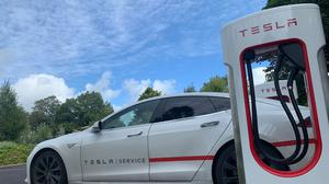 The Tesla electric vehicle supercharger station at the Ballygarry Estate Hotel in Tralee.