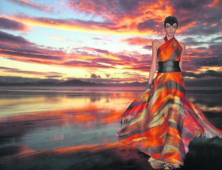 Don O'Neill's Oscar dress worn by Mary Kitchen which was inspired by the Ballyheigue sunset.
