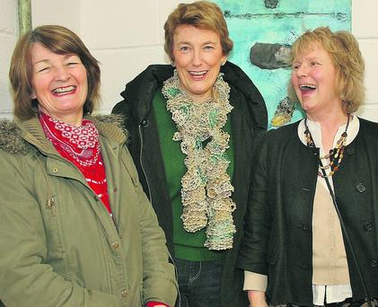 Mary Reilly, Deirdre Kirwan and Maire Ui Shithigh at the Féile Ealáine na Cásca in An Maimín, Baile an Fheirtearaigh on Easter Sunday. Photo: Marian O'Flaherty