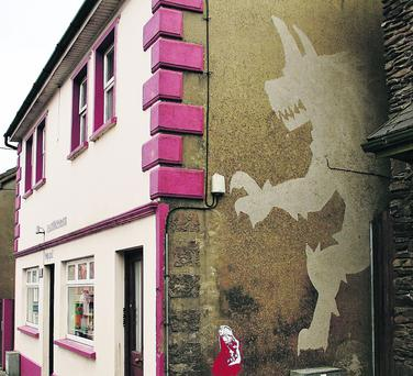 'Big Bad Wolf' street art by an unamed artist which has appeared on Dingle's Goat Street. Photo by Marian O'Flaherty