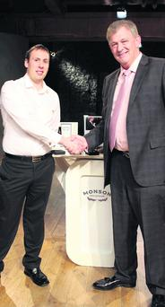 David Monson (left) with Peter Casey of Dragon's Den after they struck a deal together.