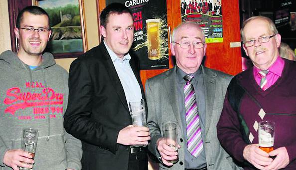 At the Launch of Fleadh by the Feale at the Ploughman Bar in Abbeyfeale were, from left: Donal Gallery, Padraig Redfern of Carling, Paddy Quill and John O'Sullivan.