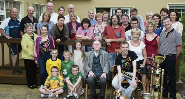 Double All-Ireland U-18 Piping and Mouth-Organ Champion, Micheál Ó Sé pictured at a party at home in Farranfore with his parents, Noel and Joan, sister, Bríd, grandfather, Dan O'Shea, Currow; music teachers, Tadhg and Padraig Buckley and Michael Kelliher and a host of family, neighbours and friends. Photo by John Reidy