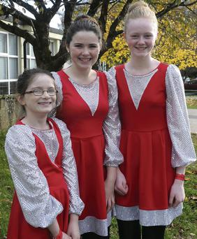 Eve Moynihan, Ruth Moynihan and Laura Cronin of the Rathmore set dancers.