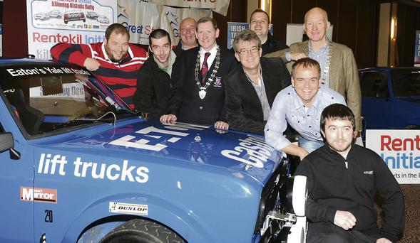 Launching the Killarney Historic Rally in the Gleneagle Hotel were Anthony O'Connor, Darren McCormick, Deputy Clerk of the Course; Brian Allen, Great Stuff Caterers; Cllr Paddy Courtney, Mayor of Killarney; Patrick O'Donoghue, Managing Director, Gleneagle Hotel; Michael O'Mahony of Rentokil, Johnny McGuire, President, Killarney Tourism and Commerce; Kevin Flannery, Clerk of the Course and Charlie O'Neill.