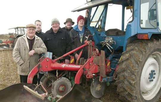 James O'Driscoll, Nicky Burke, Christy O'Mahony, Liam O'Mahony and Richard O'Mahony at the Ardfert Ploughing Championship.