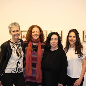 Nuala O'Sullivan, Grace Roberts, Catriona Fallon (CEO Siamsa Tíre) and Suzanne Mortell at the opening of their exhibition in the Siamsa Tíre Gallery on Friday April 6.