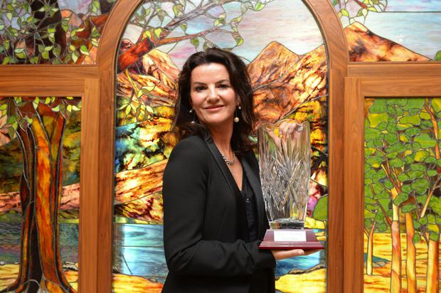 Deirdre O'Kane who was presented with the Maureen O'Hara award. Photograph by Sally MacMonagle.