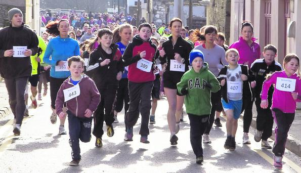 Some of the 264 fun-runners, joggers and walkers who took part in the Muire Gan Smál five fundraising event on Sunday, February 24. Photo: John Reidy