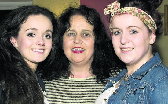 Margaret O'Connor, Ballylongford pictured with her daughters, Dearbhla (left) and Saoirse at the Tarbert Comprehensive School Fashion Show at the Tinteán Theatre in Ballybunion on Friday night. Photo by John Reidy