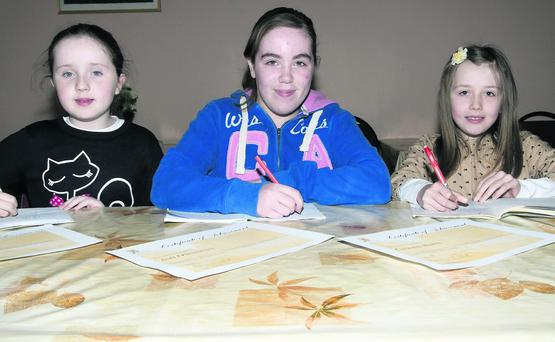 Duagh girls who took part in the Creative Writing class at the Seanachai Centre in Listowel - Laura O'Connor, Amy O'Sullivan and Caoimhe Harte.