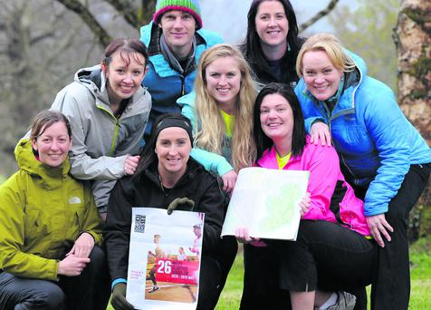 Mary Walsh, Catriona O'Callaghan, Helen Pierce,, Niamh O'Carroll, Andrea Thornton, Niamh Burns, Eoin Murphy and Aoife O'Reilly who will participate in the Great Irish Marathon in memory of Vivien O'Shea. Photo by Michelle Cooper Galvin