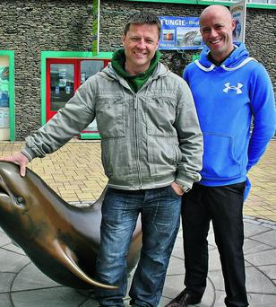 Jimmy Flannery and Donny Hilliard who are dressing up to take part in the inaugural Dingle Women's Mini Marathon this Saturday in an effort to raise funds for Breast Cancer Ireland and PCD. Photo by Marian O'Flaherty