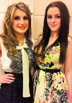 Agnes Nic Laimh and Rachel Ni Shuilleabhain modelling for La Boheme Boutique at the PCD Seó Faisin last Tuesday night.