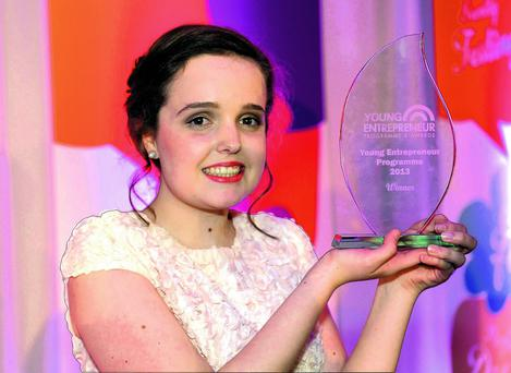 n Kaithlin Corcoran, Presentation Secondary School Tralee, pictured after she won the Young Entrepreneur of The Year Award 2013 at The Malton Hotel Killarney. Photo by Don MacMonagle