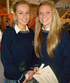 Award winners Emma O'Shea and Sarah Louise O'Connell at the Colaiste Na Sceilge End of Year Awards.