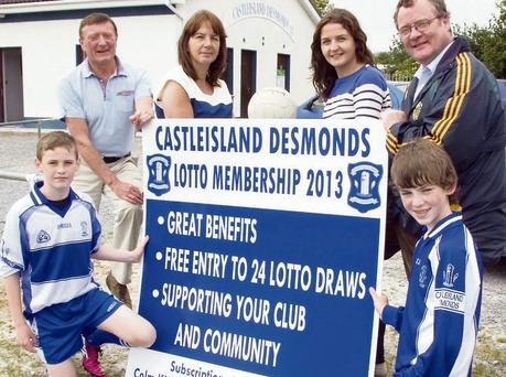 Underage players Adam O'Donoghue (left) and Dylan Browne helping to launch the Castleisland Desmonds GAA Club Membership with club officials from left: Timmy Nelligan, Mary Browne, Eilish O'Leary and Colm Kirwan. Photo: John Reidy