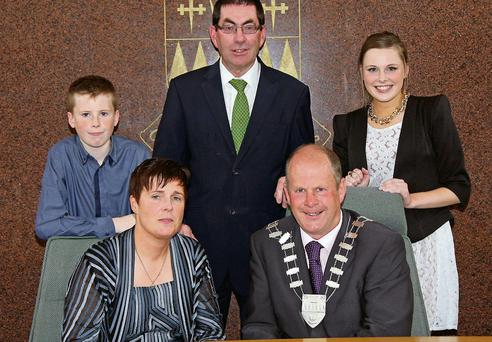 Seamus Cosaí Fitzgerald with his wife Anna Marie, son John and daughter Ellen at Council Chambers on Monday where he was elected Mayor of Kerry. Also included is County Manager Tom Curran.