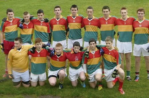 The Skellig-Valentia under-16 team who lost to St Marys-Renard. (Back, from left) Darren Curran (Valentia), Brian Kennedy (Portmagee), Brendan Murpphy (Portmagee), Diarmaid Keating( Portmagee), Jim Lynch (Valentia),John Murphy (Portmagee), Senan Lynch (Valentia), Anthony O'Driscol l(Portmagee), Mikey Moriarty (Valentia).