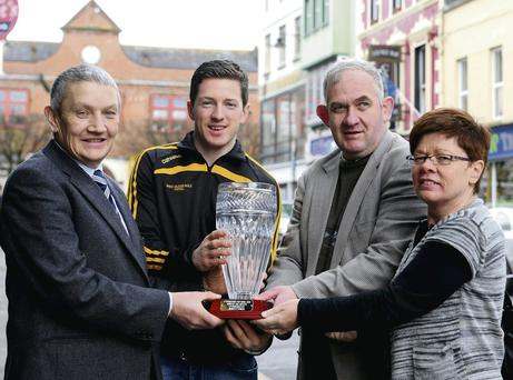 Jim O'Brien (third from left) presenting the O'Donoghue Cup Man of the Match Award to winner Kieran O'Leary Dr Crokes with (left) Tim Ryan Chairman and (right) Peggy Horan Secretary East Kerry Board in Killarney on Monday. Photo by Michelle Cooper Galvin.