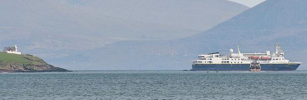 The National Geographic Explorer anchored at the mouth of Dingle Harbour last Friday.