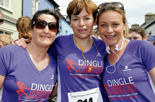 Mag Spillane, Maura Moriarty and Rose Smith, all from Castlegregory, at the Dingle Women's Mini Marathon last Saturday.