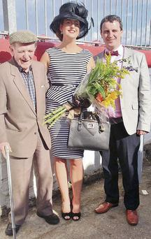 Best dressed gent runner-up Timmy Kelliher, winner of best dressed lady Aisling O'Sullivan and winner of best dressed gent Ritchie Quaid at Dingle Races last Sunday.