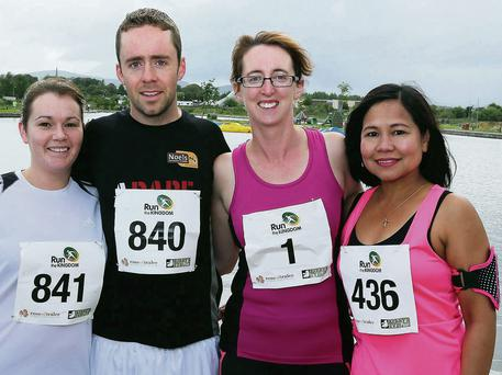 Taking part in the Festival 10K run or walk from the Wetlands on Sunday, left Orla Howick, John O'Mahony, Causeway, Niamh Aveyta, Kilflynn, and Arlene Mahony, Causeway. Photo: John Cleary