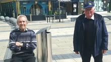 Looking very relaxed at Tralee town square on Friday was Sean Mahony from Ardfert with Mike O Connor from Castlegregory after doing essential shopping. Photo Moss Joe Browne.
