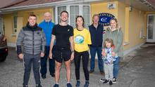 Maurice Kelter, Tralee with his family and friends after he completed the Ultra Marathan 66KM in 6hrs 15mins recently, John Leen, Mike Moynihan, Maurice Kelter, Pauline Parker, Grace and Jake Foran. Photo Joe Hanley