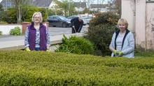 Margaret Shine and Sheila Sheridan enjoying the gardening in Moyvane this week as the streets were deserted due to the Coronavirus. In the background is Chris Sheridan. Photo By Domnick Walsh © Eye Focus