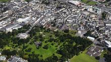 An aerial view of Tralee Town Park, CBS School The Green, Ashe Memorial Hall, Denny Street, Presentation Secondary School, St John's Church, Presentation Convent, Dunnes Stores. JohnClearyPhoto.com