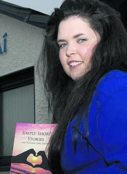 Simply Short Stories: Castleisland Community College student, Caitlin Nolan pictured with a copy of her book which is in demand as an example and educational tool by other schools. Photo by John Reidy
