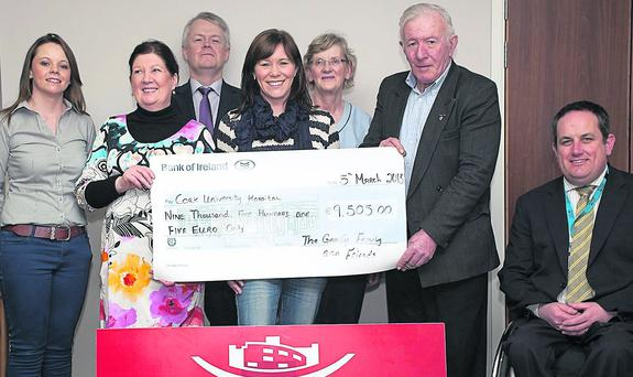 The Garvey family, Foilmore, presented €9,505 to Cork University Hospital on Tuesday, March 5, following the annual dance held at the Ring of Kerry Hotel in Cahersiveen on January 6. Included (from left) are: Maureen Garvey, Gloria Newman, Dr Brian Sweeney, Consultant Neurologist, CUH, Claire O'Shea, Eileen O'Riordan, Clinical Nurse Manager, CUH, John Garvey and Damian McGovern, Business Manager CUH.